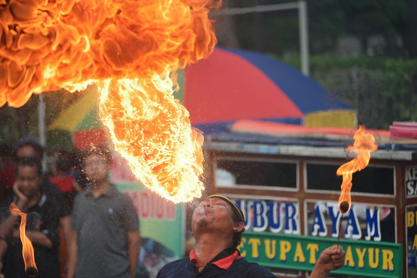 Semburrrr Dua Carfreeday Jakarta INDONESIA Fire Flame Tradition Performance People Outdoors NX1 Men Debus Kuda Lumping Street Photography Street Art Street Life Streetphotography City Life Lifestyles City Working