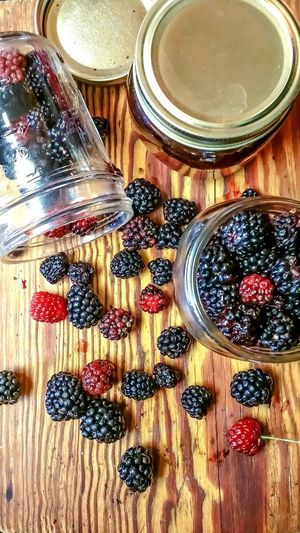 Food And Drink Indoors  Table Freshness High Angle View Drink Refreshment Food No People Healthy Eating Directly Above Jar Day Close-up Ready-to-eat Berries Fresh Fresh Fruits Wild Berries Dew Berries Cooking Canning Black Berries Making Jam Jelly Visual Feast