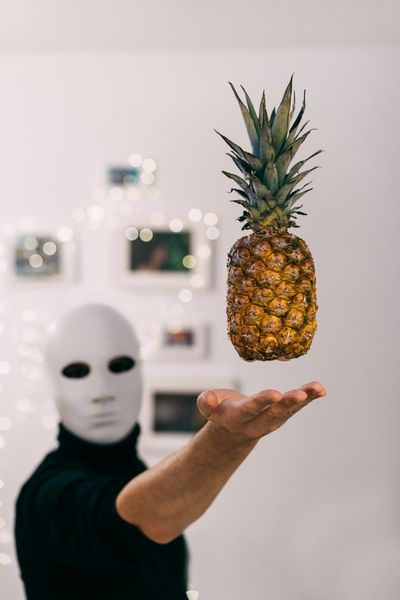 After 3 rainy days inside home, we got bored. Levitation People Mask Mask - Disguise Indoors  One Person One Man Only Be. Ready. Pineapple Food Fruits Freshness Healthy Eating Holding Fruit Human Hand Human Body Part Anthropomorphic Face This Is Masculinity Inner Power Visual Creativity Creative Space The Still Life Photographer - 2018 EyeEm Awards The Creative - 2018 EyeEm Awards 50 Ways Of Seeing: Gratitude Capture Tomorrow
