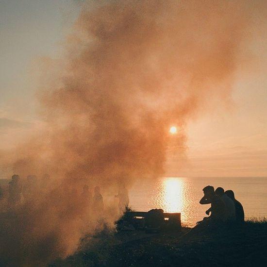 Bonfire by the beach. Sunset Sun Sea Beach party sky clouds fire bonfire smoke silhouette horizon water scotland
