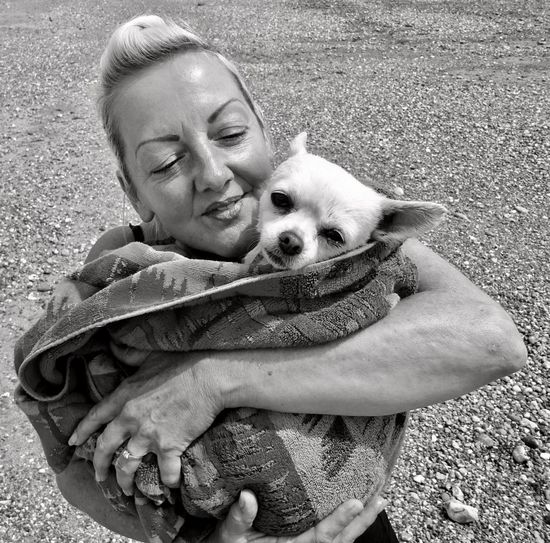 Love my gorgeous girly....(Chloe)..💖 Woman Beach Blackandwhite Wrapped In A Towel White Chihuahua One Animal Pets Canine Dog Domestic Animal Themes Domestic Animals Real People One Person High Angle View Leisure Activity Day