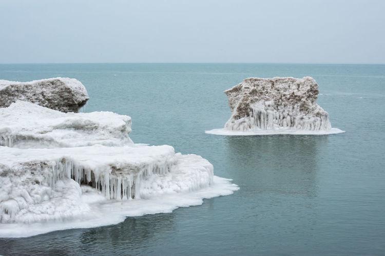 Winter freeze along lake michigan