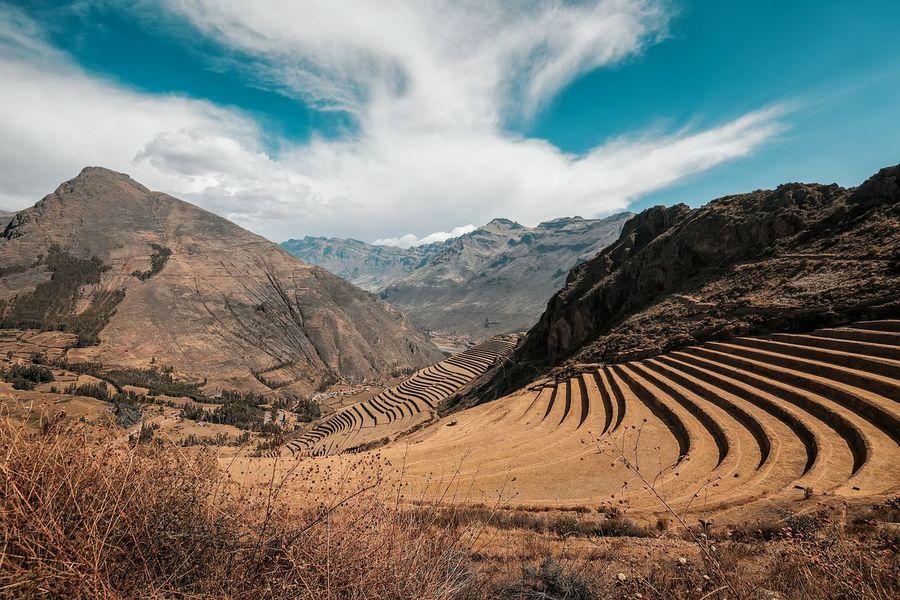 Peru Inka Pisac Perú Terrace Agriculture Sky And Clouds Orange Mountain View
