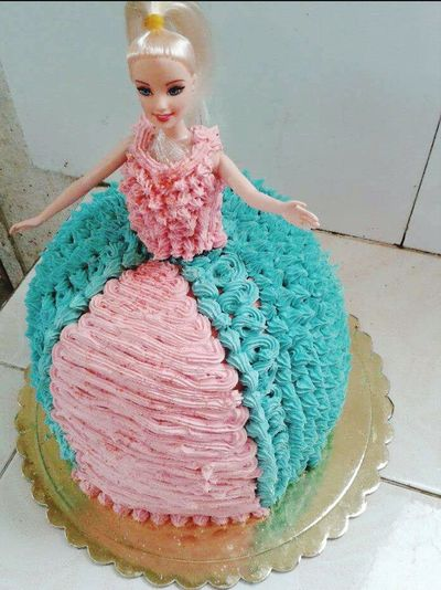 Blue And Pink Barbie Cake