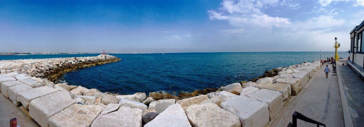 Rimini pan 1 Architecture Cloud - Sky Day Footpath Groyne Horizon Horizon Over Water Land Nature Outdoors Panoramic Rock Rock - Object Scenics - Nature Sea Sky Solid Stone Material Tranquil Scene Water