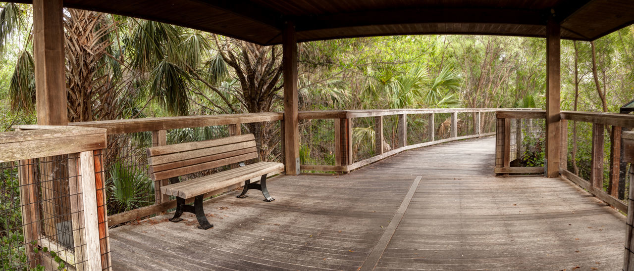 Wooden bench on a secluded, tranquil boardwalk along a marsh pond in Freedom Park in Naples, Florida Bench Freedom Park Marsh Naples Nature Tranquility Absence Architecture Built Structure Day Empty Indoors  Landscape Nature No People Plant Railing Seat Sunset Tranquility Tree Wood Wood - Material