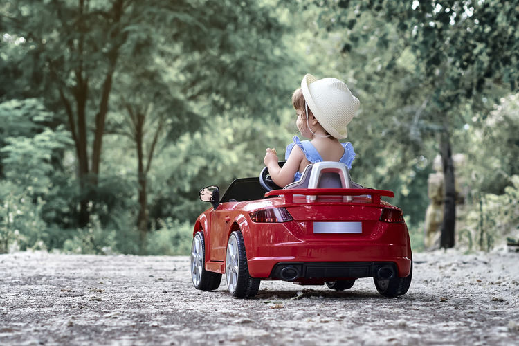 Toy car on road against trees