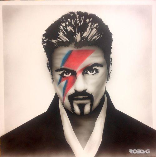 George Micheal mash up New Artist Robski Spraying David Bowie George Michael Spray Art