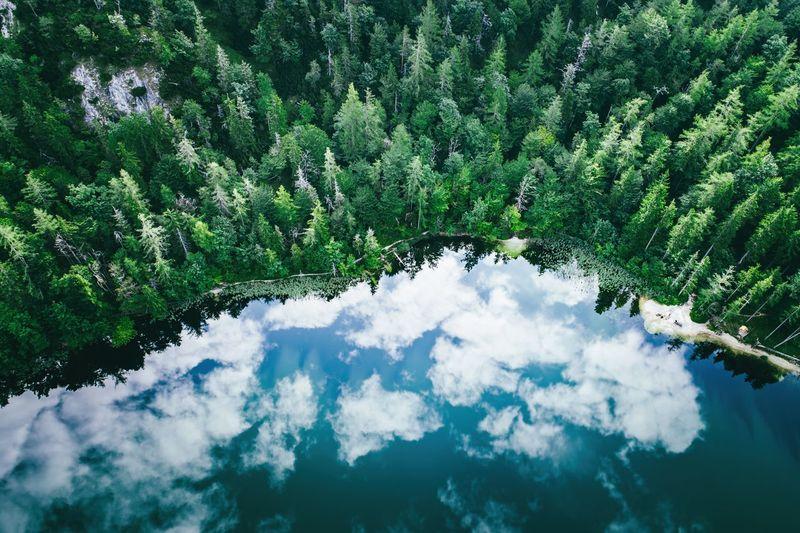 Aerial view of cloud reflections on water, lake eibensee near salzburg, austria.