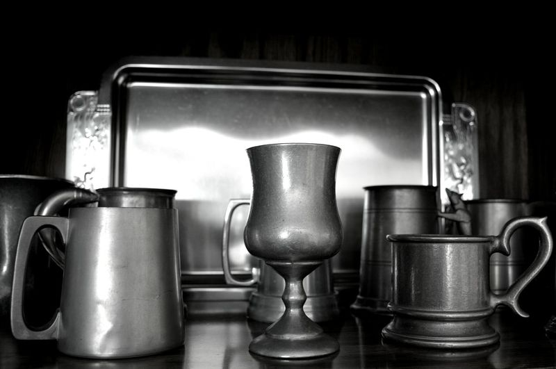 Pewter collection Pewter Indoors  Collection Food And Drink Domestic Life Mugs Metal Tankards Drinking Vessel Monochromatic Monochrome Photography