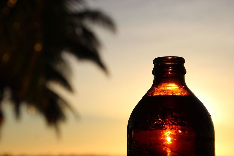 Bottle Focus On Foreground Sunset Drink Fragility Close-up Alcohol Refreshment Freshness Food And Drink No People Drinking Glass Crystal Glassware Cloud - Sky Outdoors Sommergefühle