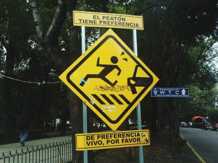 Sign Warning Sign Outdoors Yellow CD.MX.