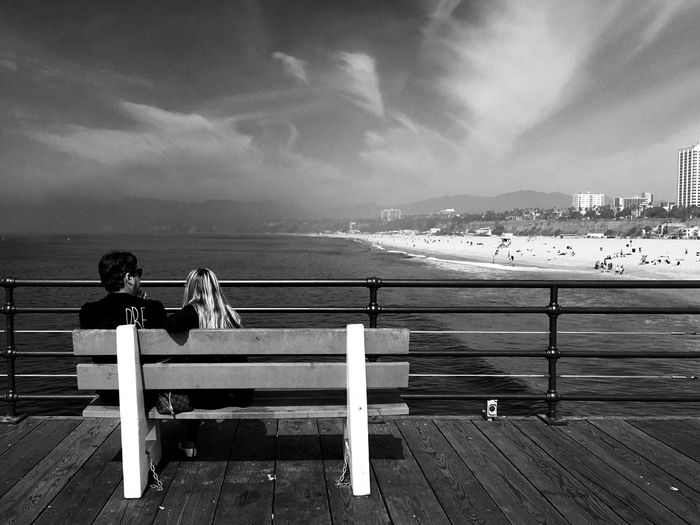 Sea Sky Relaxation Beauty In Nature Light And Shadow IPhoneography Victoria Harbour Waterfront Los Angeles, California People Watching People Sitting Black And White Black & White