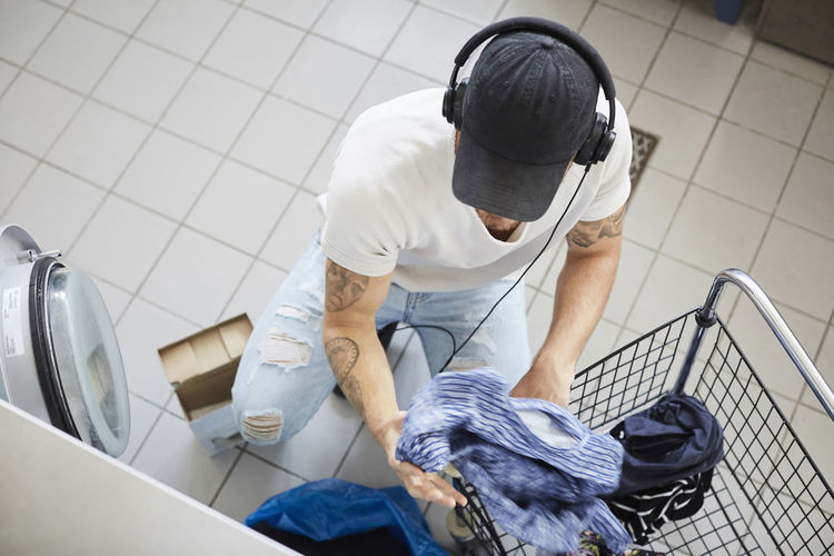 High angle view of man working