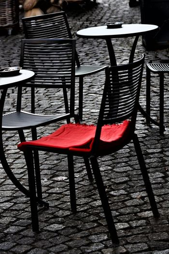 EyeEm Best Shots Red Cafeteria Chair Chair Art Day Eye4photography  Minimalism No People Outdoors Red Color Table