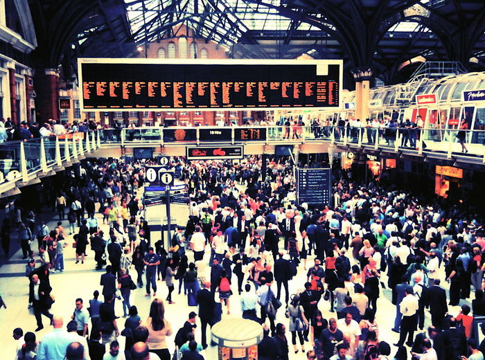 Liverpool Street Station, London, August 2010 Tags: crowd, commuters, train station, urban, city, cross process develop