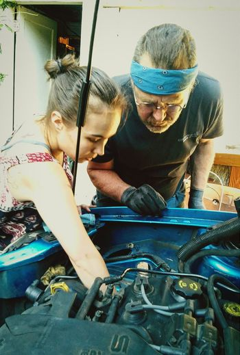 "When Pixlr did the ""Dads"" challenge i was disheartened that there were almost no dads of teens and adults. So i went and took a few of my daughter and her dad when he was teaching her about diagnosing amd dismantling a car engine. This was the third time i was able to help with such a lesson, by offering my not-running car as case in point (oh boy!). Pixlrchallenges Daddy Daughter Time Dads Daughters Pixlrcontest Pixlr Express  Pixlromatic Pixlr Check This Out"