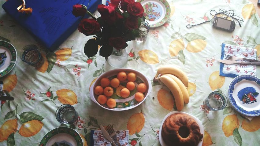 Celebrating Mothersday Enjoying The Morning Wonderful Morning Present Flowers Fruit Table View My Favorite Breakfast Moment A Bird's Eye View