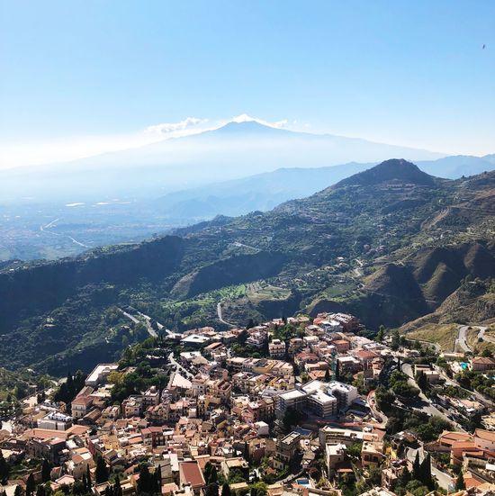 View on Etna Volcano from Taormina Volcano Mountain Building Exterior Taormina Taormina And Etna Italy Landscape View October Sunny No People