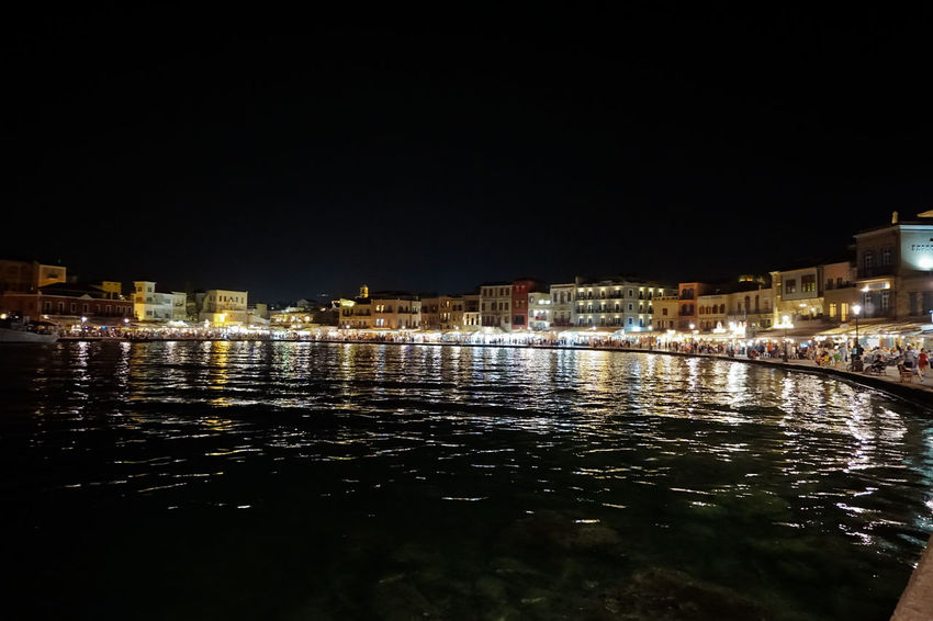 Chania, Crete at night Architecture Building Exterior Chania City Crete Destination Fun Greece Long Exposure Night Night Lights Nightphotography Outdoors Port Reflection Sea Seaside Summer Travel Trip Water