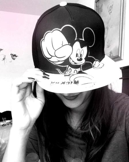 Mickey Mouse Fan Headshot Women Indoors  Hat Mickey Mouse Blackandwhite Welcome To Black