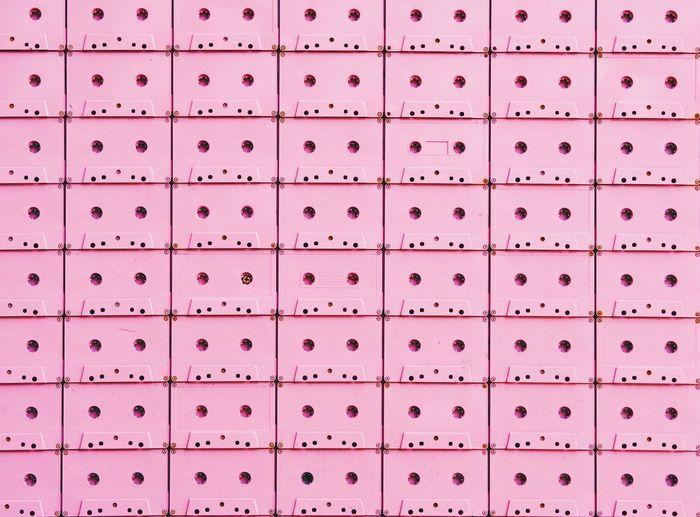 Full Frame Shot Of Pink Audio Cassettes