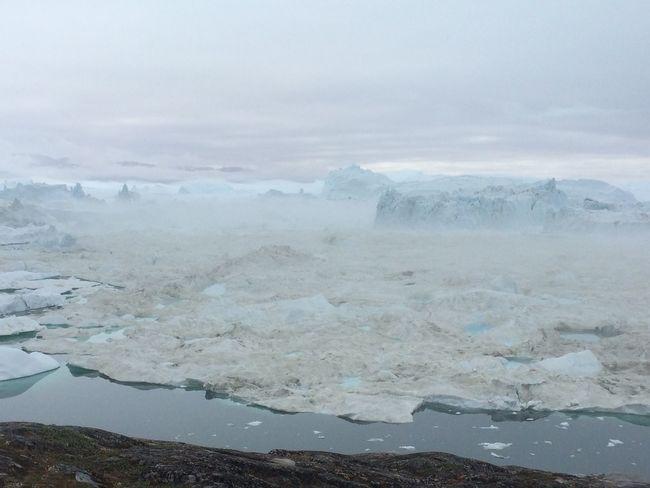 Icebergs Greenland Ilulissat Icefjord Beautiful Mountains Sermemiut Foggy