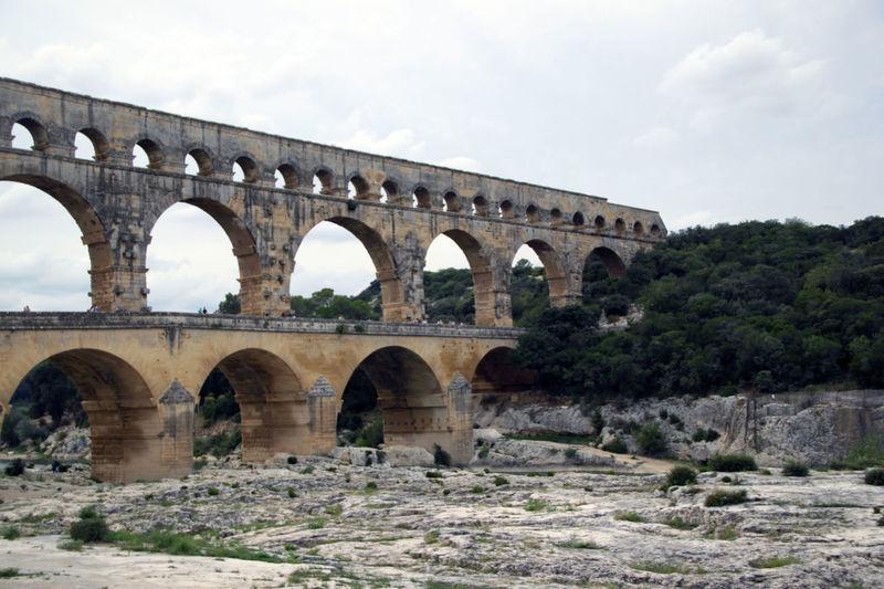 Pont du Gard Aquaduct Arch Arch Bridge Arched Arches Architecture Bridge Built Structure Engineering Old Pont River