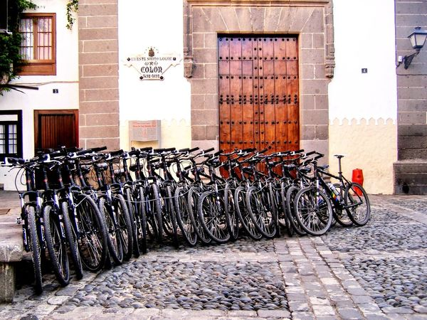 Waiting for a ride Bicycle In A Row Transportation Stationary Las Palmas De Gran Canaria