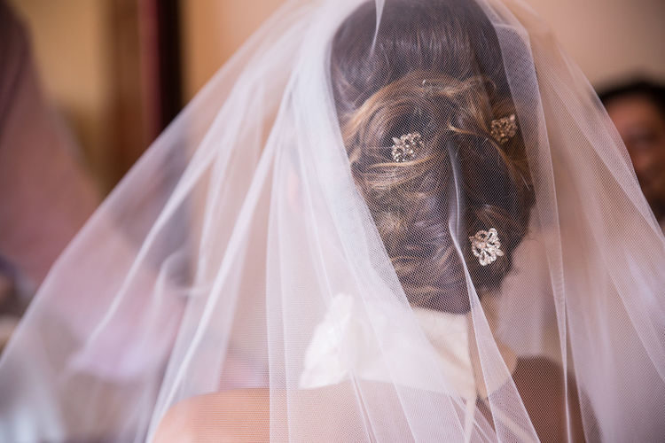Rear view of bride wearing veil