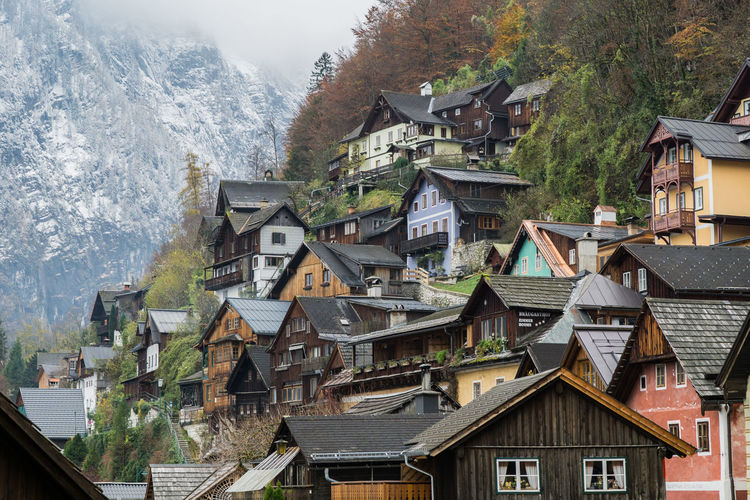 Buildings on mountain