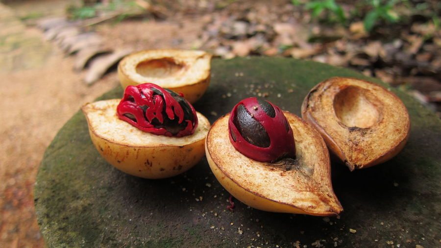 Close-up of pear with nutmeg on tree stump