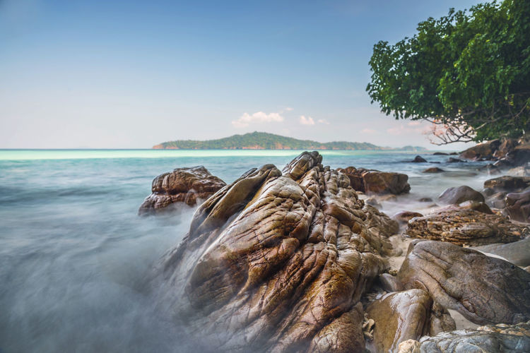 Landscape of the rock in the beach, the sea at Cockburn Island, Myanmar. Cockburn Nature Rock Soft Beach Beauty In Nature Burma Clear Sky Day Horizon Over Water Island Landscape Myanmar Nature Outdoor Outdoors Rock - Object Scenics Sea Sky Stone Tranquil Scene Tranquility Water Wave