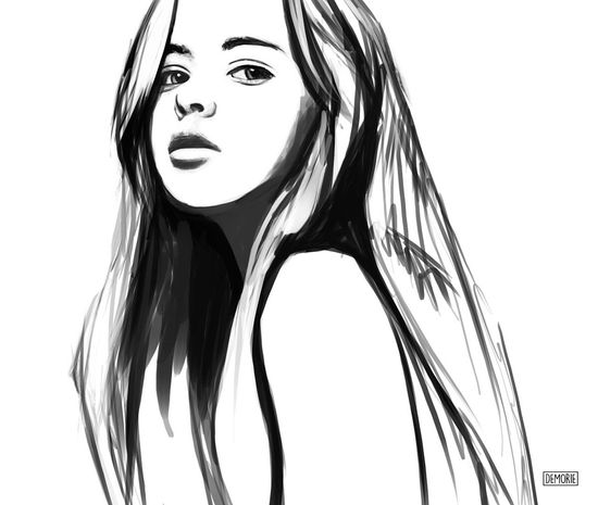 Portrait Sketch - Kristina Pimenova Long Hair White Background Adults Only Young Adult ArtWork Creative Photoshop Artgallery Drawing Printing Artist Creativity My Artwork Illustration Young Women Girl Digital Art Painting People Drawings Art Gallery Sketch Beautiful Woman Women Portrait