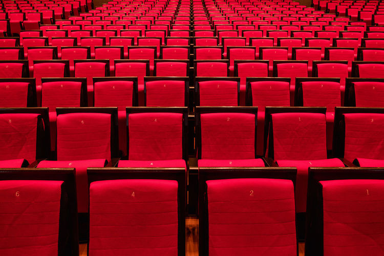 Full frame shot of empty chairs at auditorium