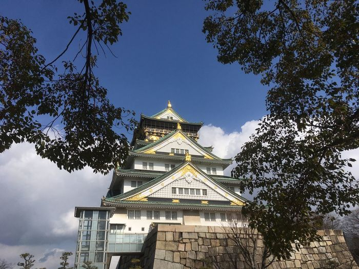 Japan Osaka Castle Architecture Branch Building Exterior Built Structure Day Low Angle View No People Outdoors Place Of Worship Sky Travel Destinations Tree