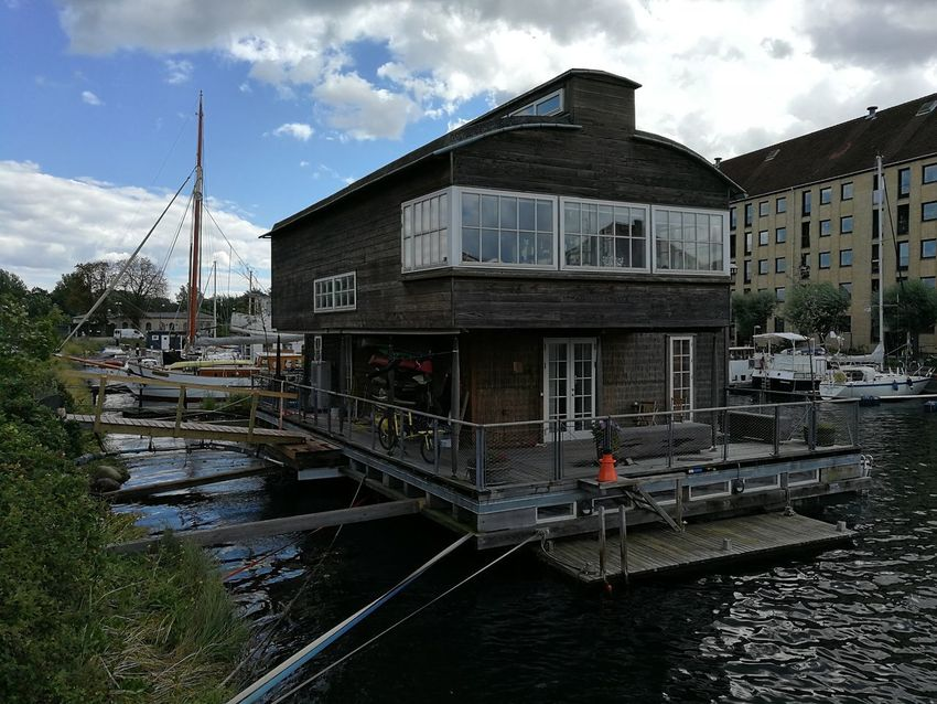 Alternative Energy Architecture Boat House Boathouse Boathouses Building Exterior Built Structure Canal Cloud - Sky Day Hausboot Nature Nautical Vessel No People Outdoors Sky Transportation Tree Water