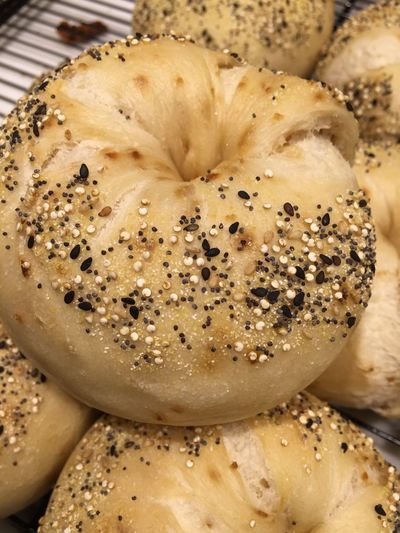 Close-up of poppy seed buns on table