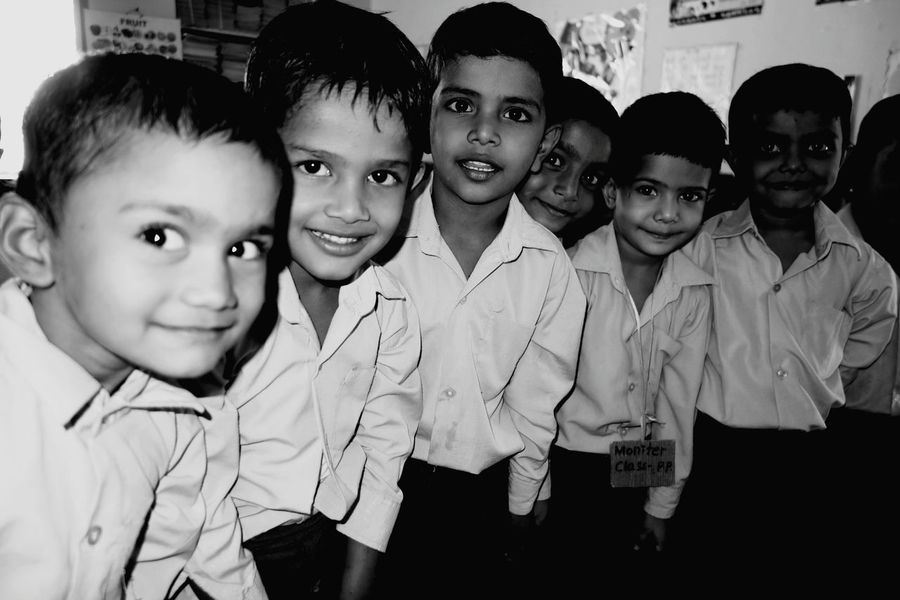 Togetherness Looking At Camera Indoors  Rural India Back To School Education First ! Innocence Naughty Kids Curious Eyes Monochrome Photography Unicef