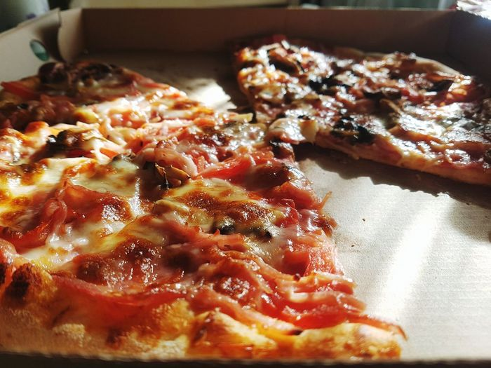 Close-up of pizza served on table