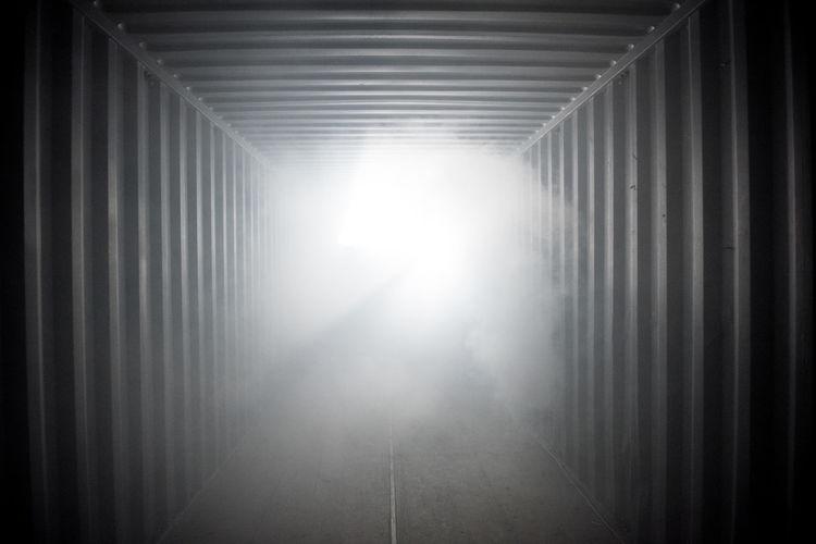 Sunlight streaming through tunnel