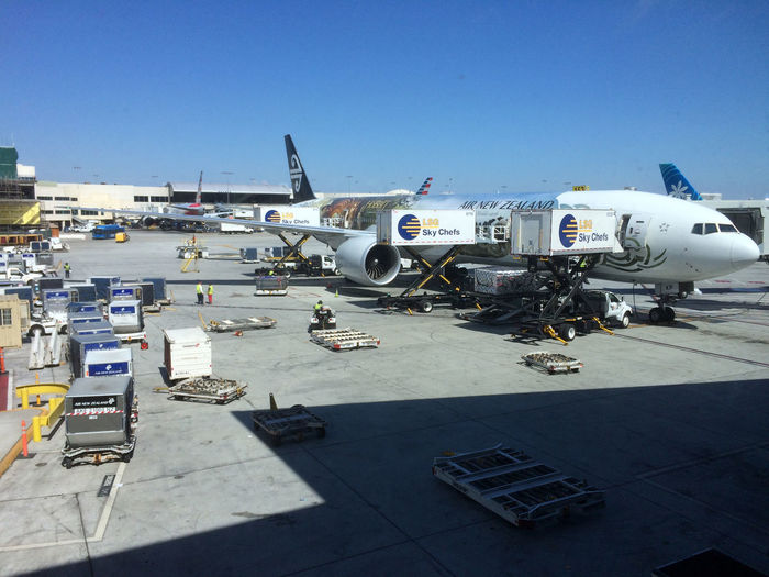 Air New Zealand Airplane Airport Boeing 777-300 ER Commercial Airplane L'Os Angeles Stationary Transportation