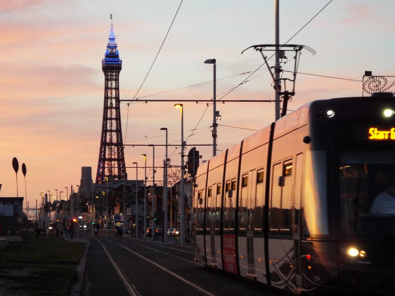 Tram Blackpool Tram Late Evening Blackpool Tower Blackpool Seafront Blue Lights  Blue Lights On Blackpool Tower Tourism Tourist Attraction  Summer Summertime Summer2016 The Essence Of Summer Late Evening Sky On The Way Mobility In Mega Cities