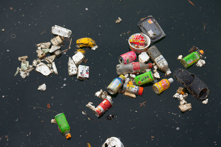 High angle view of garbage