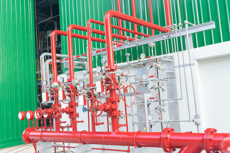 Red pipe in factory