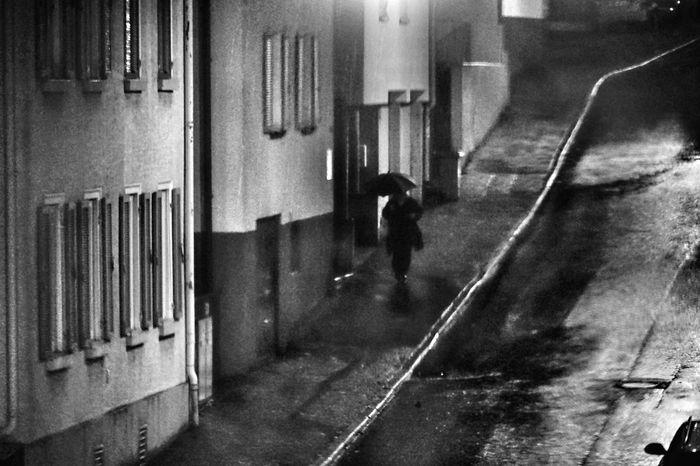 Rainy Days Pedestrian Rain Lonely Wanderer Umbrella Raining Blavk And White Black & White Streetphotography Taking Photos