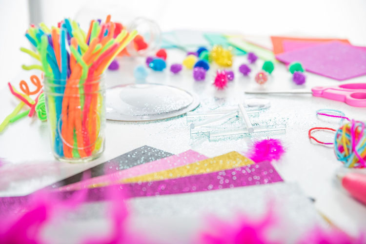 Children Crafts Creative space Creativity Glitter Home Homemade Learning Mason Jar Scissors Activity Art Childhood Colorful Craft Glue Stick Material Paper Pipe Cleaner Rainbow Supplies Table Table Top Weekend Activities Window Light