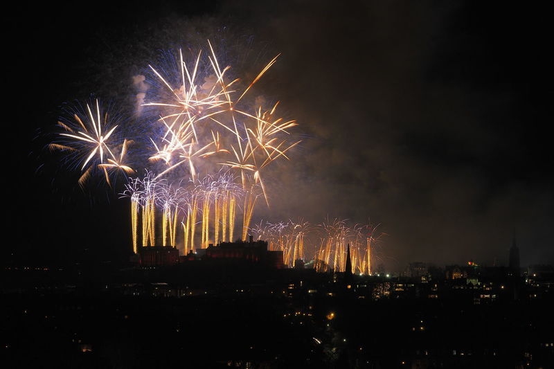 Hogmanay fireworks over Edinburgh Castle from Blackford Hill. Celebration Colour Edinburgh Exploding Firework Display Hogmanay Midnight New Year Night Outdoors Scotland Sky