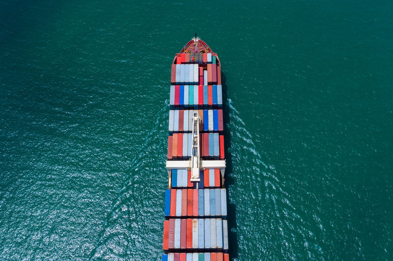 Industry business service logistics cargo containers ship import export by the sea