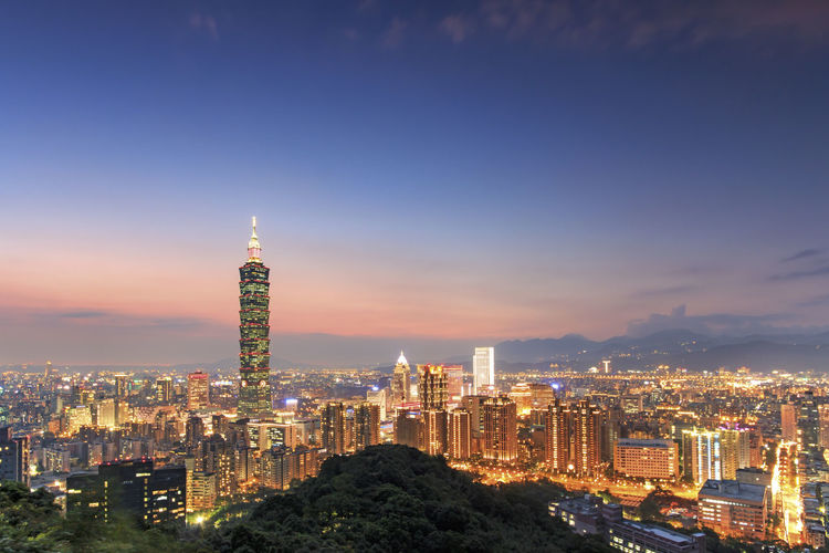 Taipei by night, in Taiwan Architecture ASIA Built Structure Capital Cities  China City City View  Cityscape Dusk Famous Place Food Illuminated International Landmark Kaohsiung Landscape Modern Sky Skyscraper Sunset Taipei Taipei 101 Taiwan Tall - High Tower Travel Destinations